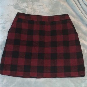 F21 Red and Black Plaid Skirt